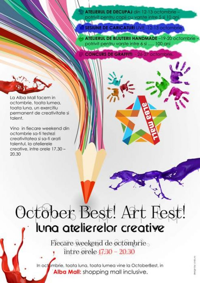 October Best! Art Fest!, luna atelierelor creative la Alba Mall