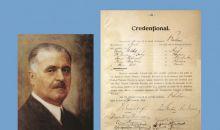 Exponatul lunii februarie, Credenționalul lui Vasile Goldiș